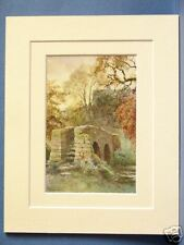 HADDON DOROTHY VERNON'S BRIDGE PEAK DISTRICT VINTAGE DOUBLE MOUNTED PRINT 10X8