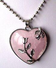 pendentif chaîne collier bijou couleur argent coeur cabochon rose amour 3377