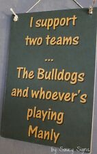Canterbury Bulldogs versus Manly Sea Eagles Rugby League Wooden Rustic Sign