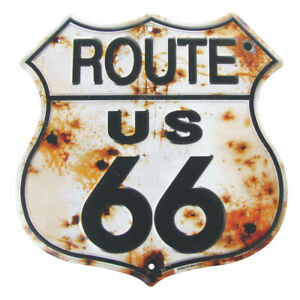 Rusty Highway Route 66 Tin Sign US Made Rustic Vintage Garage Bar Pub Wall Decor