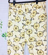 Ann Taylor LOFT Yellow Brown Floral Capri Pants Casual Women cotton Size 10