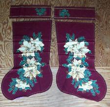Poinsetta burgurdy Christmas stocking fabric already to sew