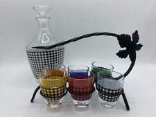 Vintage Tartan Plaid Print Decanter Full Set 6 Shot  Glasses France Barware EUC