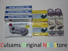 4 New Super Nintendo Snes Controllers Lot And 2 Ac Adapters & 2 Av Cables