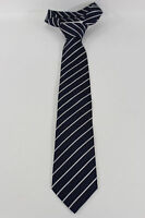 Elegant Armani Collezioni Men Silk Suit Neck Tie Navy Blue Stripes Italy Made
