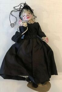 "Antique Victorian Grandma Dollhouse Doll Bendable 6""H All Handmade"