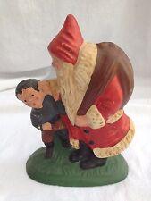 Santa Claus With Naughty Boy And Bag Of Goodies Christmas Vtg