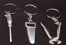 3x Porte-clés en Forme d'outil, Tenailles, Scie, Tournevis, Alliage de Zinc