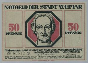 """Notgeld - Weimar- Stadt Weimar - 50 Pfennig - 1921 - """"Goethe und Schiller"""""""