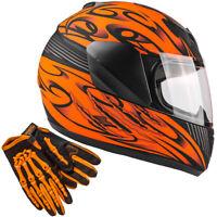 Matte Orange Kids Full Face Helmet Child Gloves Small Medium Large XL Combo