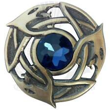 Écossais Kilt Mouche Plaid Broche Marron Pierre Finition Antique / Celtique &