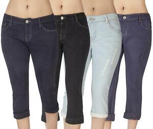 Womens Cropped Jeans Ladies Denim Capri Crop 3/4 Stretch Pants Size UK8 - 24