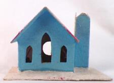 Vintage Christmas House Train Yard Putz Display Turquoise Blue Glitter Snow #120