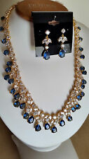 SPECIAL OCCASION & BRIDAL 18K GOLD PLATING BLUE CZ NECKLACE & EARRING SET