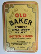 Liquor Label: OLD BAKER-Kentucky  Straight Bourbon Whiskey-Meadowlawn Distillery