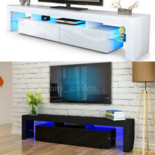 Large 200cm TV Unit Cabinet Stand Matt body and High Gloss Door FREE LED