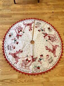 "Vintage 70s Hand Embroidered Christmas 42"" Tree Skirt w/Santa Reindeer & Pom Pom"