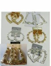 Wholesale Lot of 6 Mixed Earrings Bamboo Hip Hop Hoop Triangle Heart Silver Gold