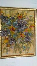 Original abstract floral fiber artwork