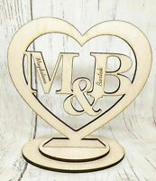 Personalised Wooden Standing Heart Plaque Initials Valentines Gift