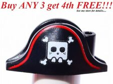 ☀️NEW Lego City Boy Minifig Hat Pirate Black Red Trim Bicorne White Skull Bones