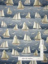 Ocean Sailboat Nautical Boats Sea Gull Bird Cotton Fabric QT Seaside By The Yard