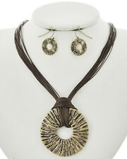 Brown Cord Gold Ball Hammered Charm Choker Necklace Earring Set