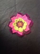 Pink Purple Green Crochet Knitted Flower Brooch, Lovely Addition To Hats, Bags