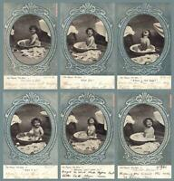 1906 Set of HER MAJESTY, THE BABY having BATH POSTCARDS to Albert Park Melbourne