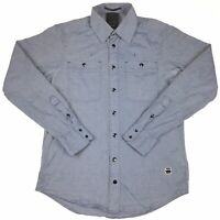 G-Star Raw Correctline Blue Cotton Blend Long Sleeve Snap Western Shirt Sz Small