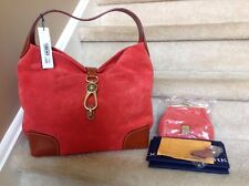 Dooney & Bourke Suede Hobo with Logo Lock and Accessories in TOMATO