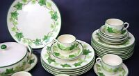Set of 3 Only Vintage Franciscan Earthenware Green Ivy Cups & Saucers
