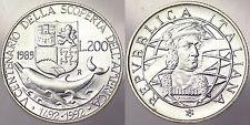 200 LIRE 1989 V CENTENARIO DELLA SCOPERTA DELL'AMERICA ITALIA ITALY ARGENTO#5732