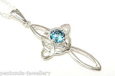 Sterling Silver London Blue Topaz Cross Pendant and 16 inch chain Gift Boxed