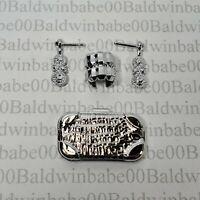 BARBIE LOOK SILVER PLASTIC EARRINGS BRACELET PURSE LOT CE1 JEWELRY ~CLUTCH LOT