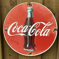 VINTAGE COCA COLA PORCELAIN SIGN USA SODA POP Coke DRINK OIL GAS PUMP PETROLIANA
