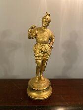 "Antique Gilt Spelter Bronze Statue French Knight Nobleman Clock Sculpture 14"""