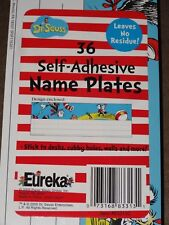 """Dr. Seuss The Cat In The Hat 36 Self-Adhesive Name Plates-3 1/4"""" X 9 1/2""""-New"""