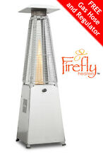 Firefly Table Top Gas Patio Heater Real Flame Outdoor Garden Stainless Steel 4KW