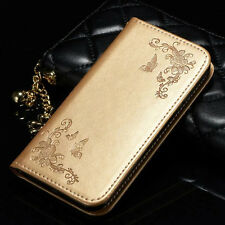 Samsung Galaxy S8 Leather Flip Wallet Case Card Slot Cover Magnetic Stand Holder Apple iPhone 7 Gold