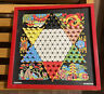 VINTAGE Wooden CHAD VALLEY CHINESE CHECKERS with Draughts Chess Board On Reverse