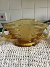 SOWERBY Art Deco 1930's Amber Glass Elephant handle Bowl #2614