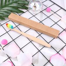 Adult Eco-Friendly Rainbow Bamboo Fibre Toothbrush Biodegradable Teeth Brush HU