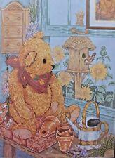 Janlynn Counted Cross Stitch Kit  POTTING SHED BEAR 12 x 16 1998 NIP