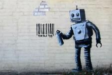 Banksy 28 October Better Out Than In Barcode Robot - Poster 24x36 inch