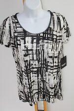 Simply Vera Wang Size XS Small Black White Shirt Top Blouse NEW NWT