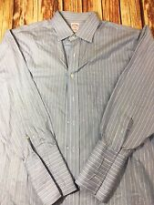 Brooks Brothers Non Iron Size 17 Blue And White Striped Long Sleeve Men's Shirt