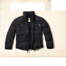 New Hollister Mens Bay Street Quilted Jacket Coat Navy Blue Large