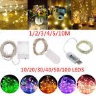 10-100 LED Batterie Micro Reis Draht Kupfer Fee Lichterkette Party Xmas weiß