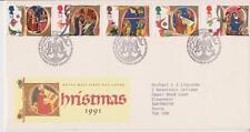 GB Royal Mail FDC 1991 Letras De Navidad Sello Conjunto Mesa PMK